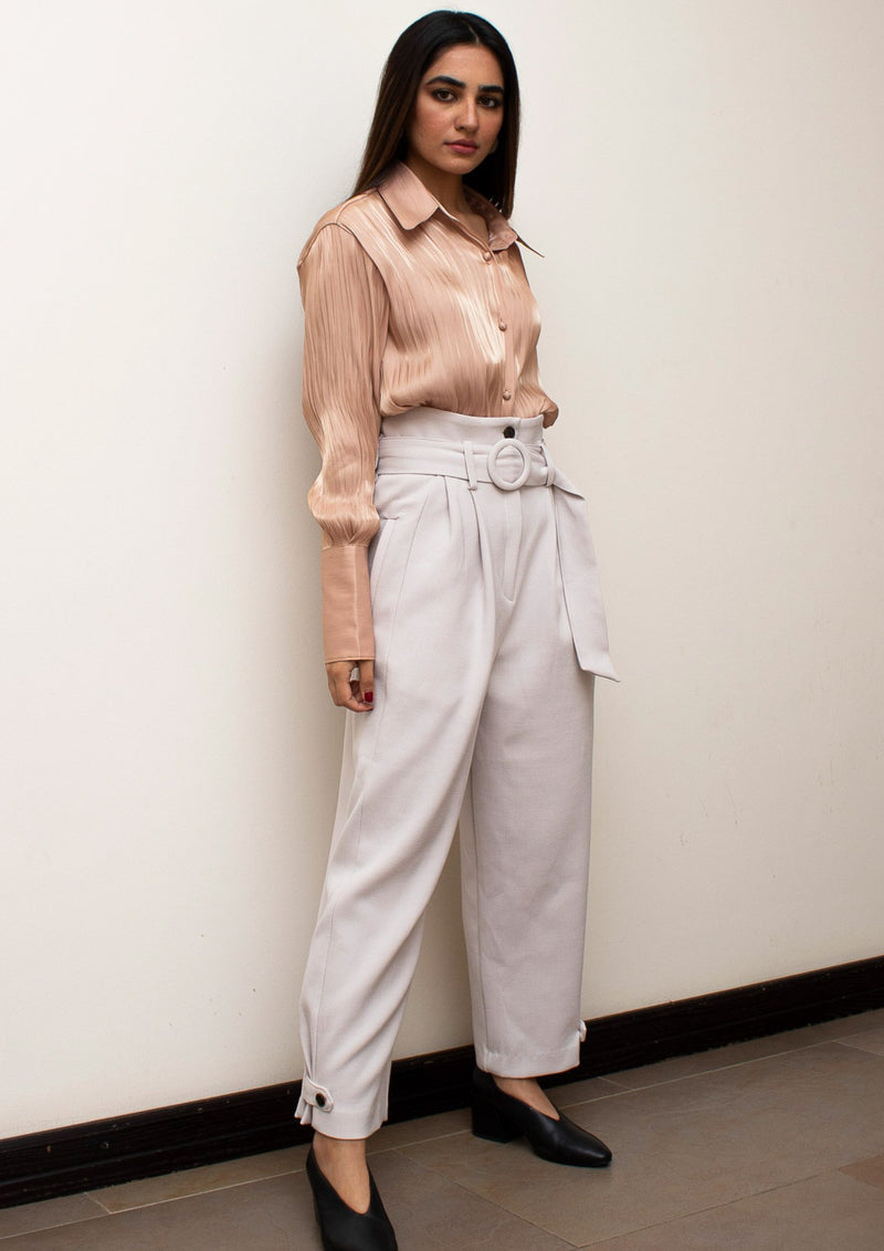 Cream High Waist Belted Pants with Button Cuff