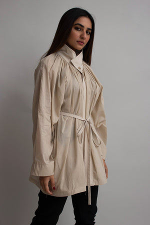 Beige High Collar Pleats Blouse