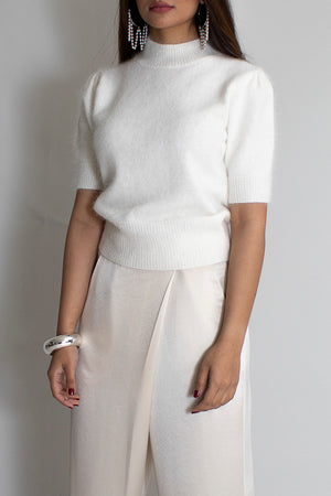 White Angora Short Sleeves Sweater