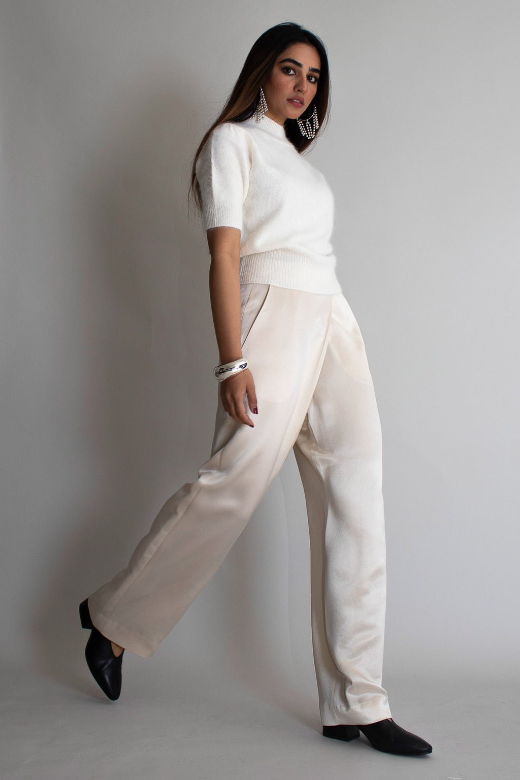 Cream Silk Asymmetrical Wide Pants