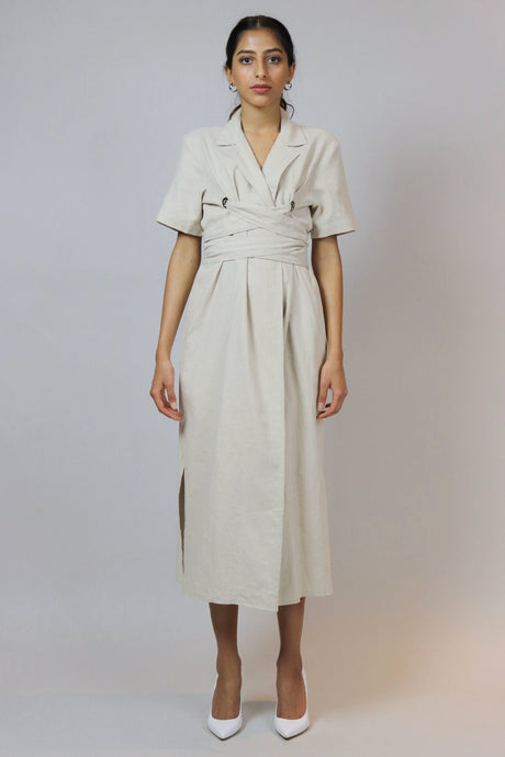 WANTS Beige Wrapped Linen Dress
