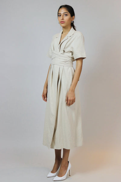 Beige Wrapped Linen Dress