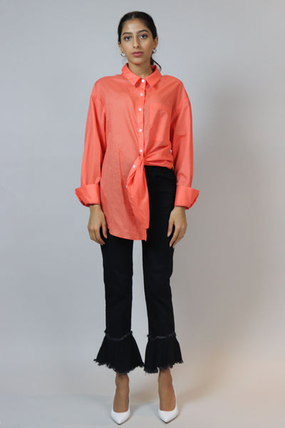 Oversized Orange Buttoned Down Top