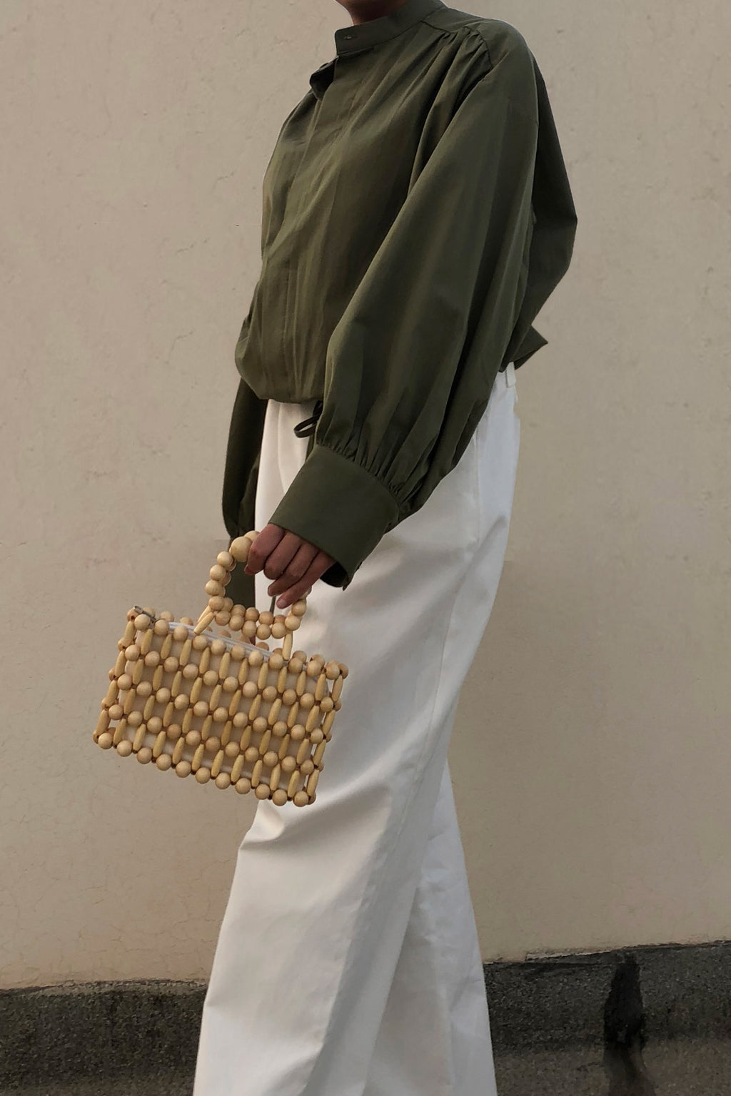 Wooden Mini Beaded Bag