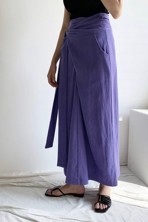 Purple Linen Tied Skirt