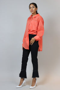 WANTS Oversized Orange Buttoned Down Top