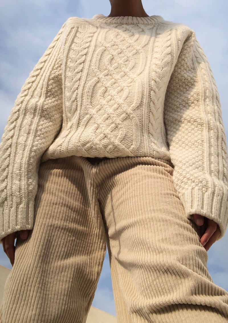 Cable Knit Sweater in Bone