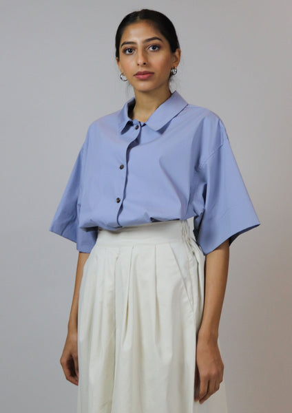 Blue Short Sleeves Top