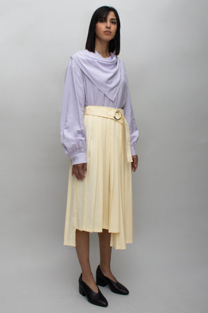 Pastel Yellow Asymmetrical Pleats Skirt