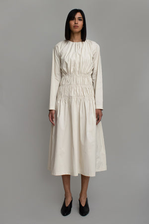 Cream Ruched Midi Dress