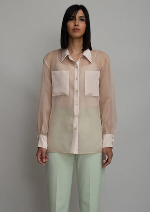 Beige Sheer Button Blouse