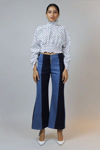 House of Sunny Polka Dot Cropped Top