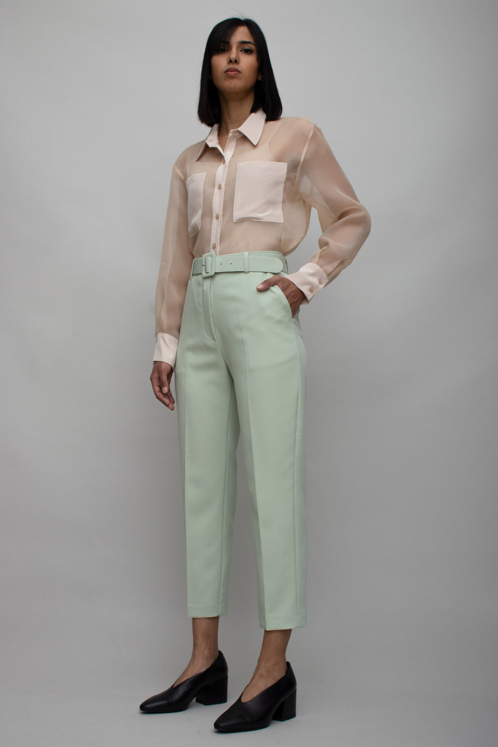 Mint Green Belted High Waist Pants