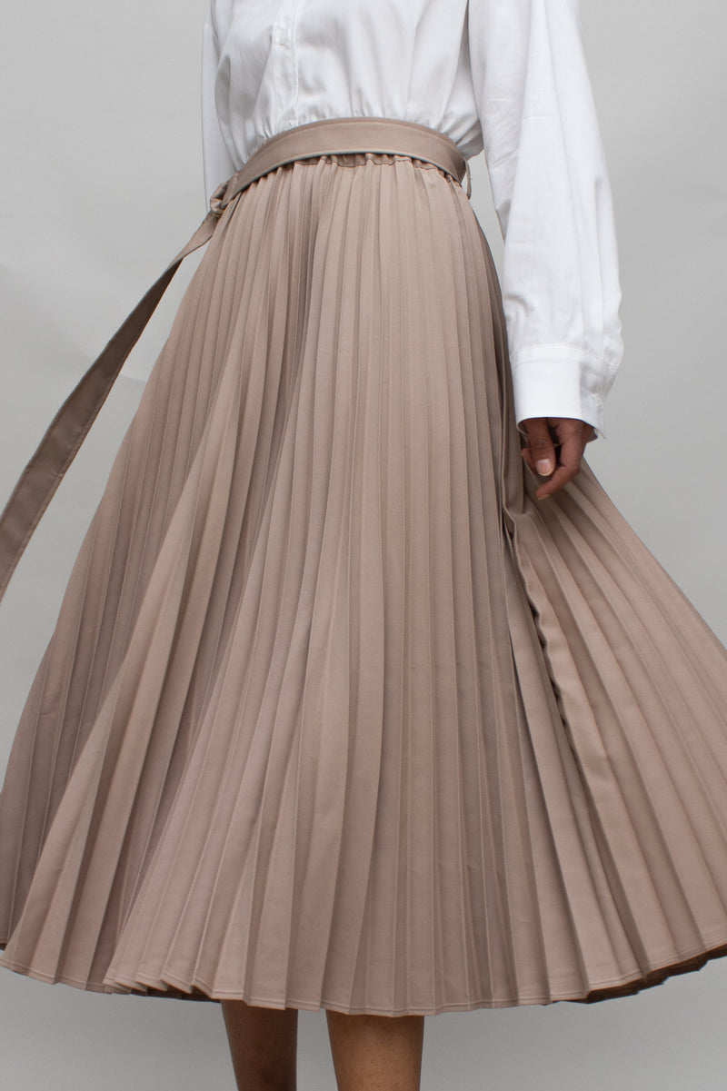 Taupe Pleats Belted Midi Skirt