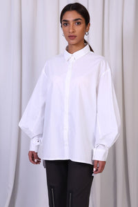 White Puffed Sleeves Cotton Top