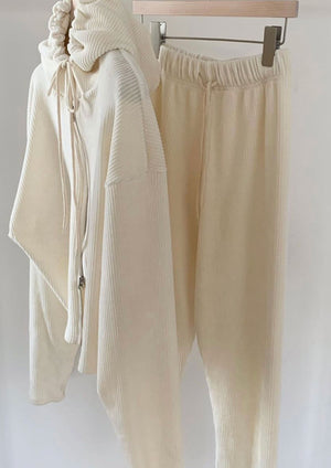 Corduroy Drawstring Sweatpants in Ivory