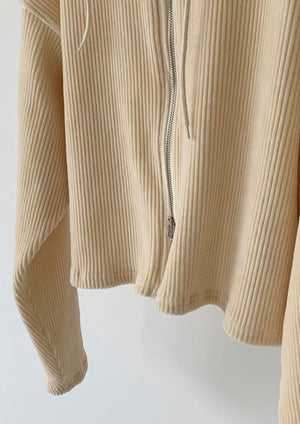 Corduroy Double Zipped Hoodie in Ivory