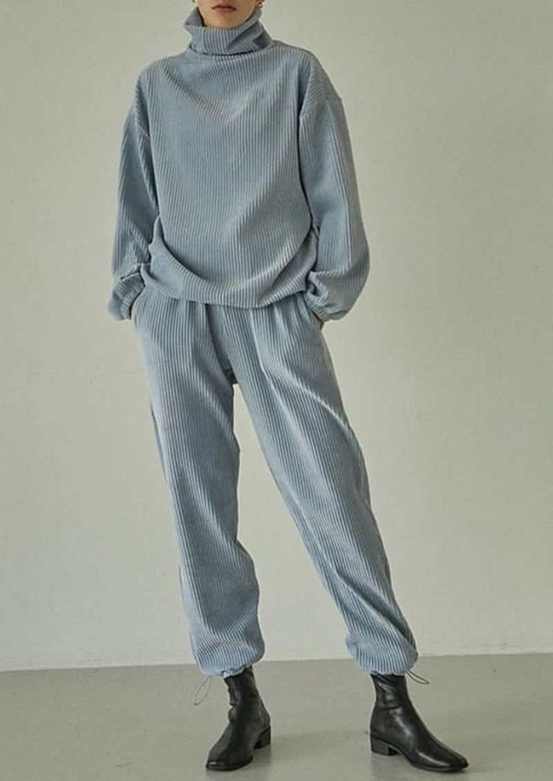 Corduroy Baby Blue Drawstring Sweater and Joggers Set