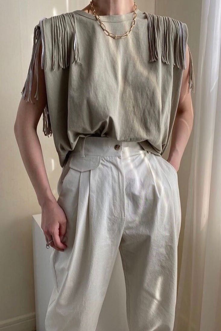Fringed Padded Shoulder T-shirt in Khaki