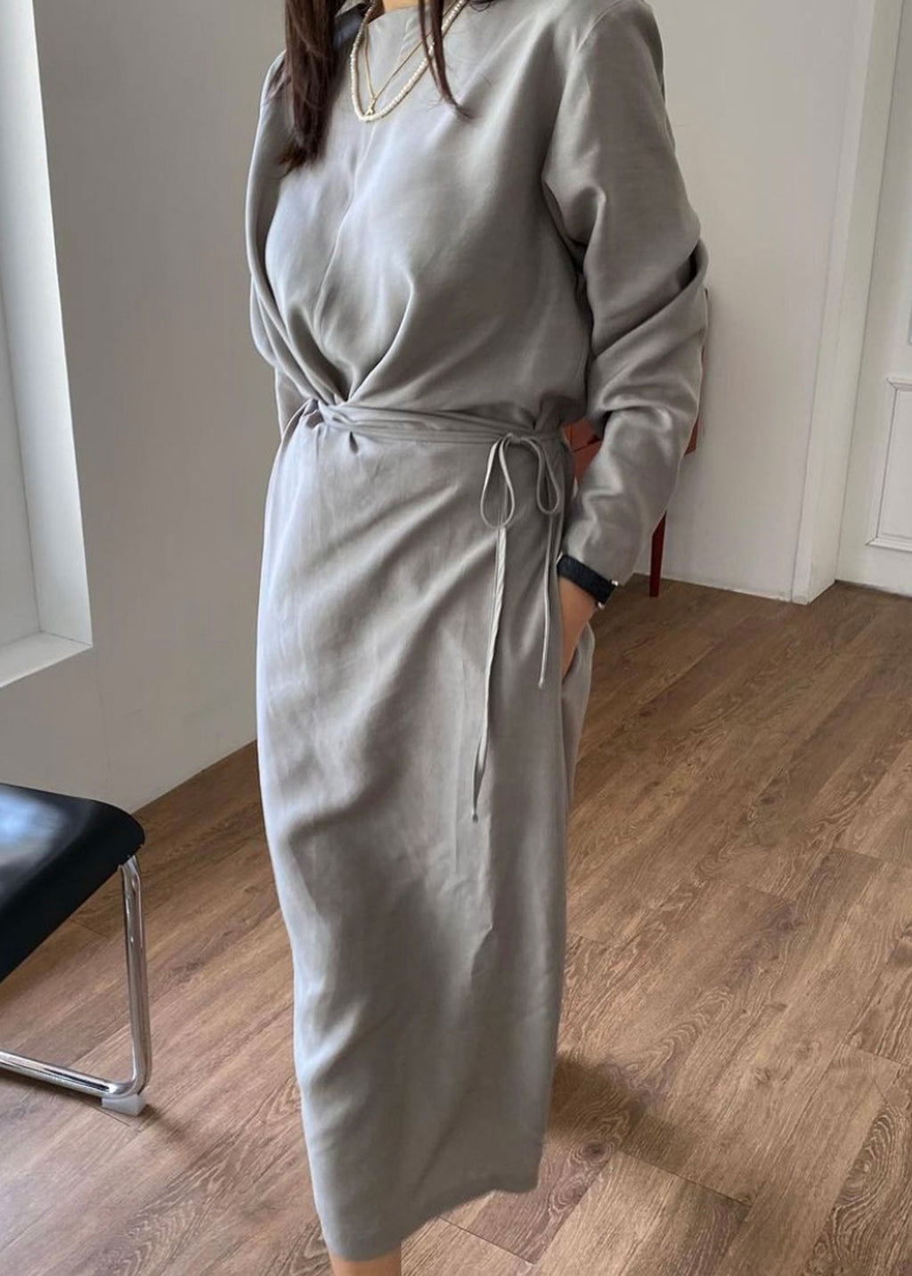 Grey Wrap Midi Dress
