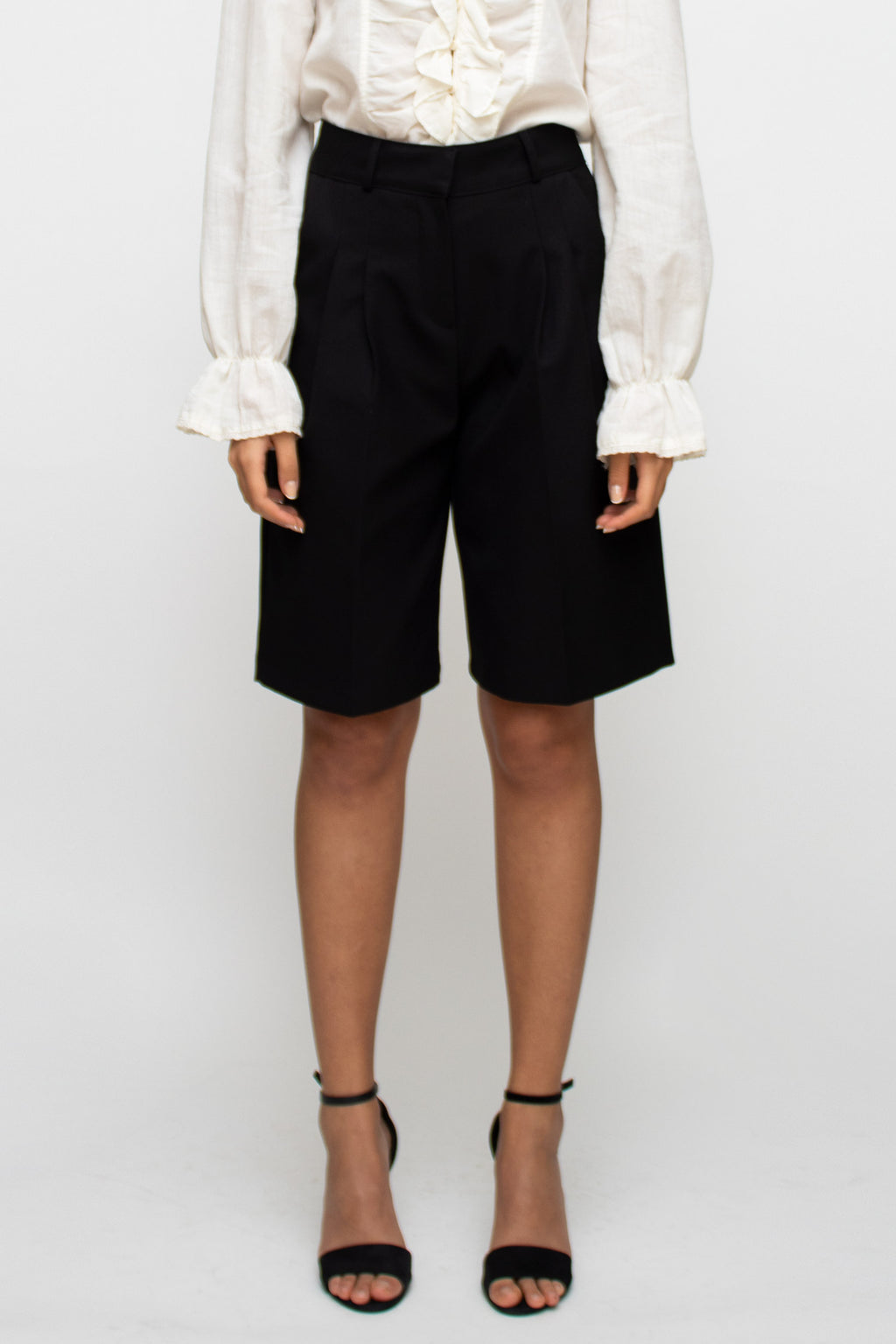 Black High Waist Suit Shorts
