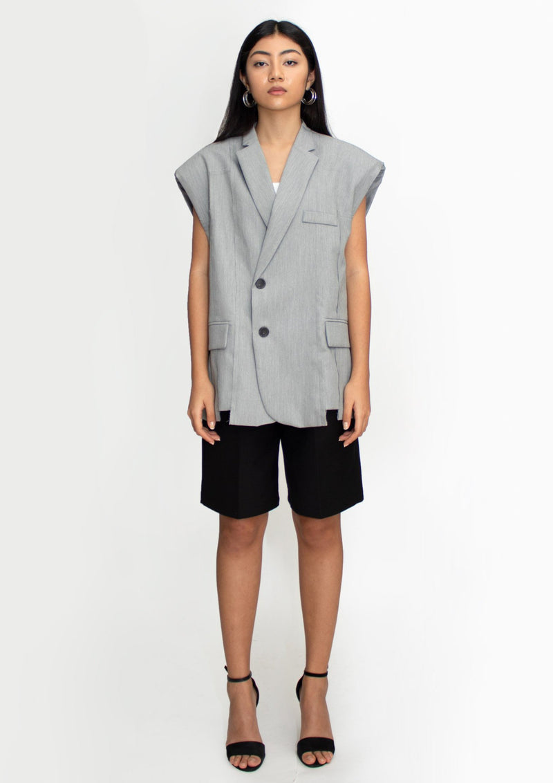 Grey Padded Shoulder Vest Blazer