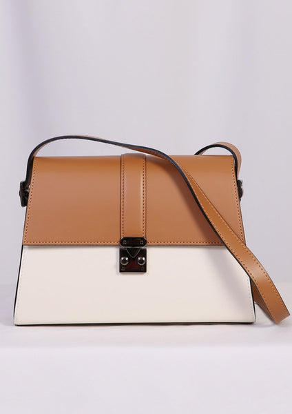 Cream Color Block Shoulder Bag