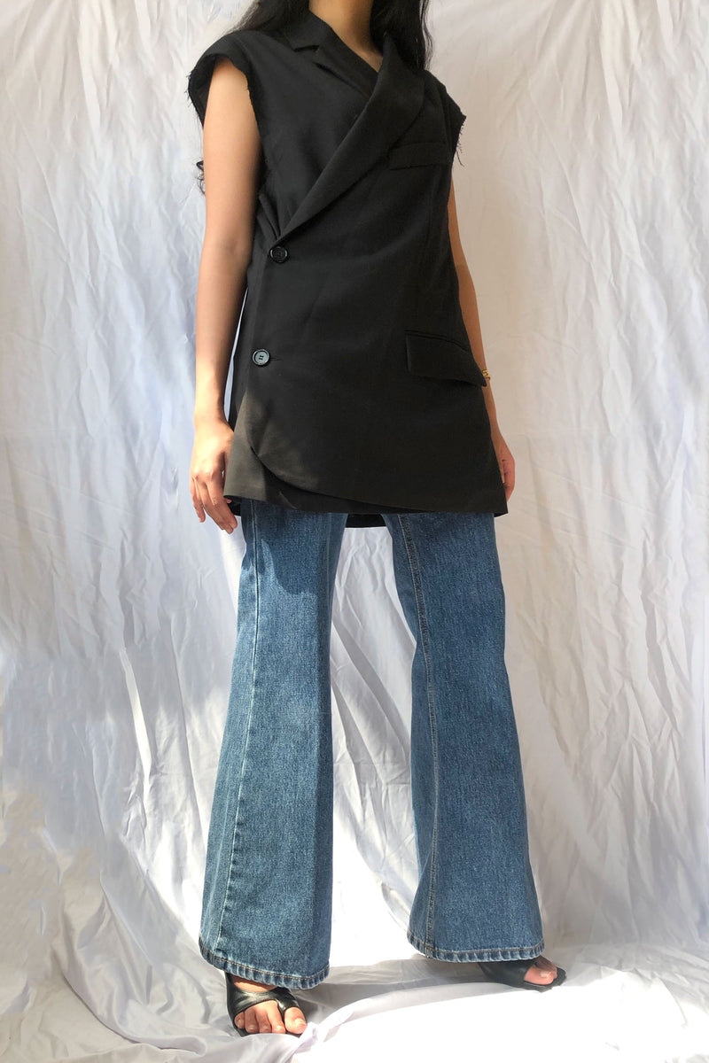 Black Asymmetrical Padded Shoulder Vest