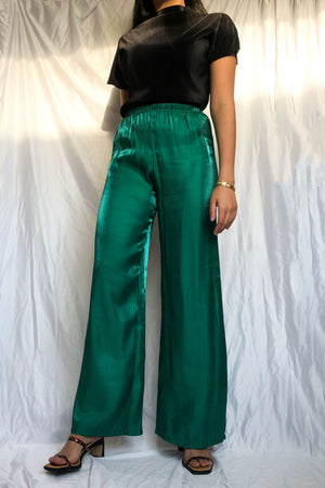 Green Silk High Waist Wide Pants