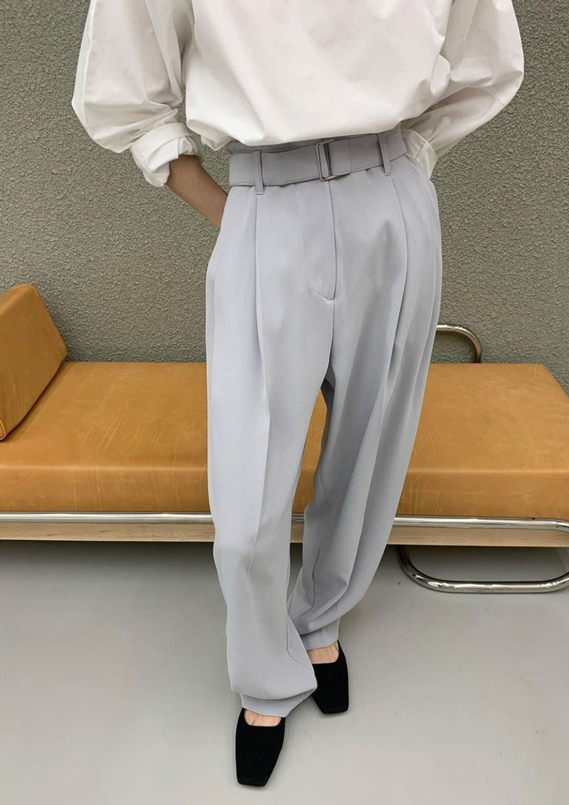 Belted Wide High Waisted Pants in Blue Grey