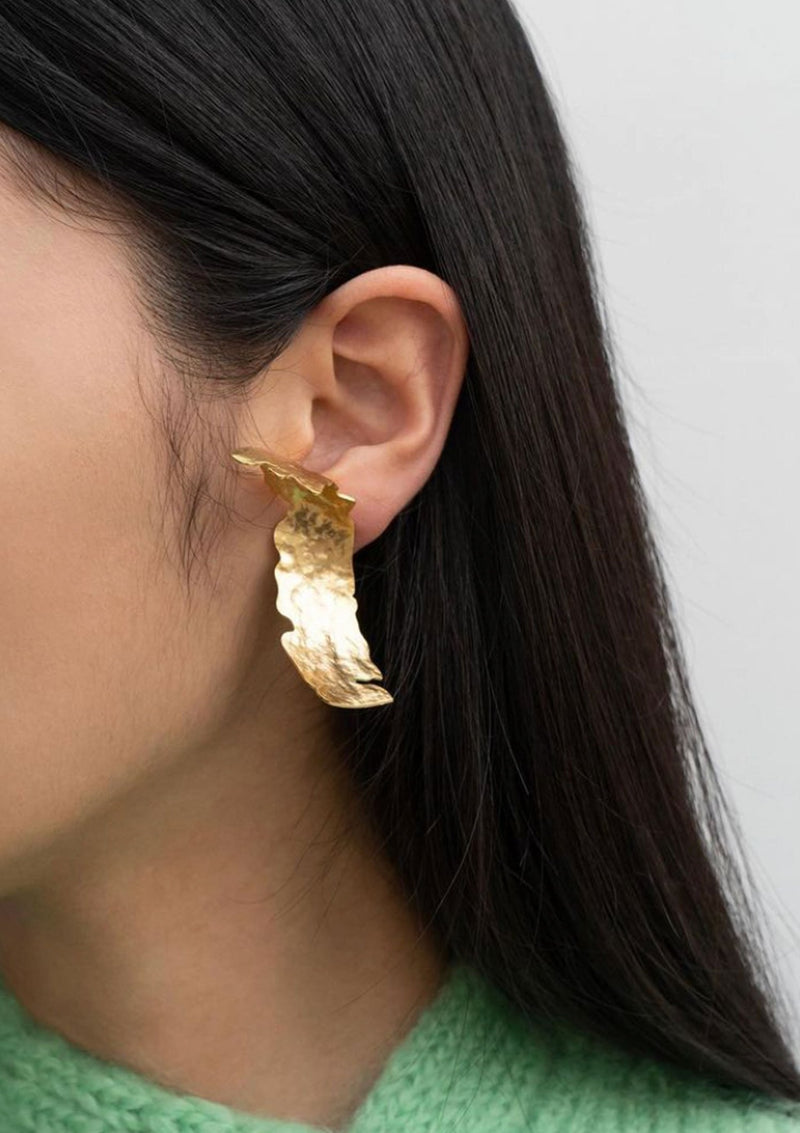Gold Abstract Clip On Earrings