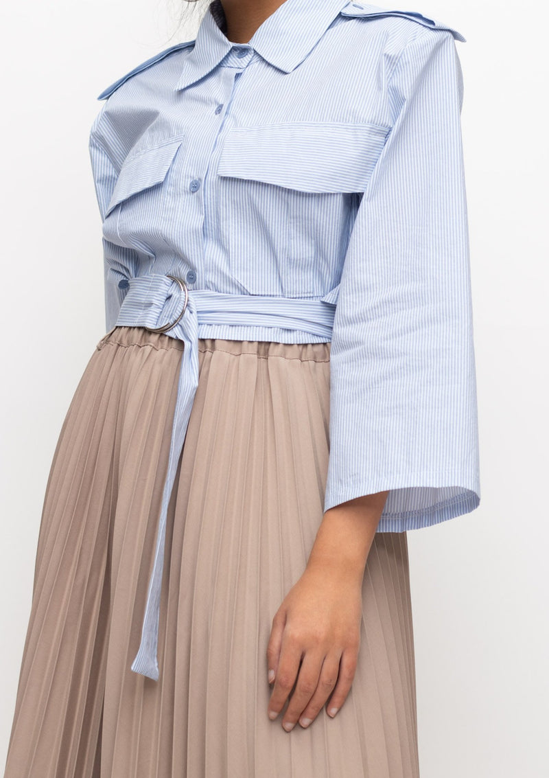Cropped Blue and White Striped Cargo Top