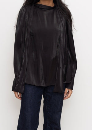 Black Shiny Mock Neck Blouse