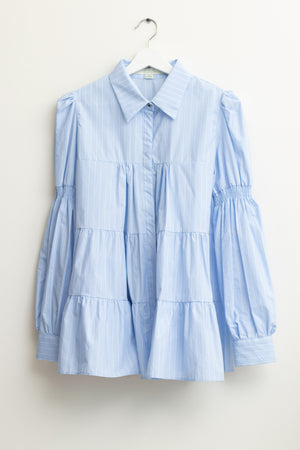 Blue Striped Volume Puff Sleeves Blouse