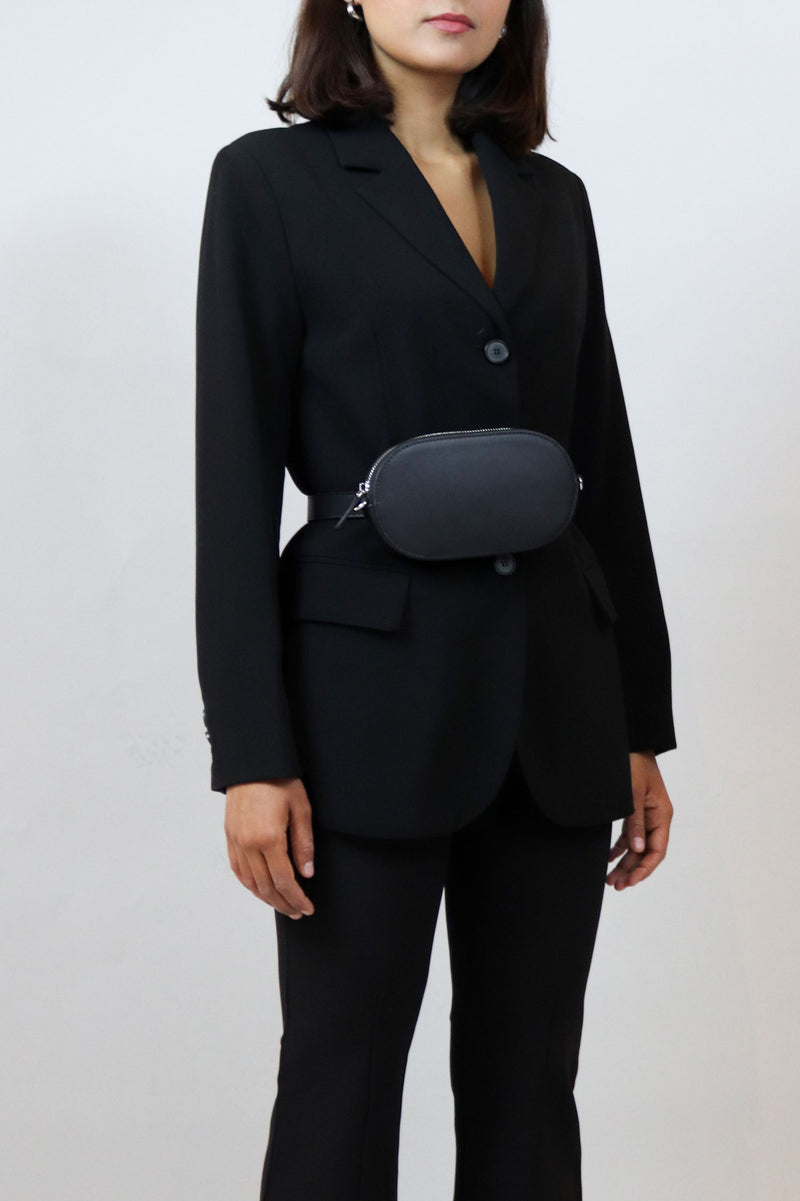 Black Round Zipped Bag