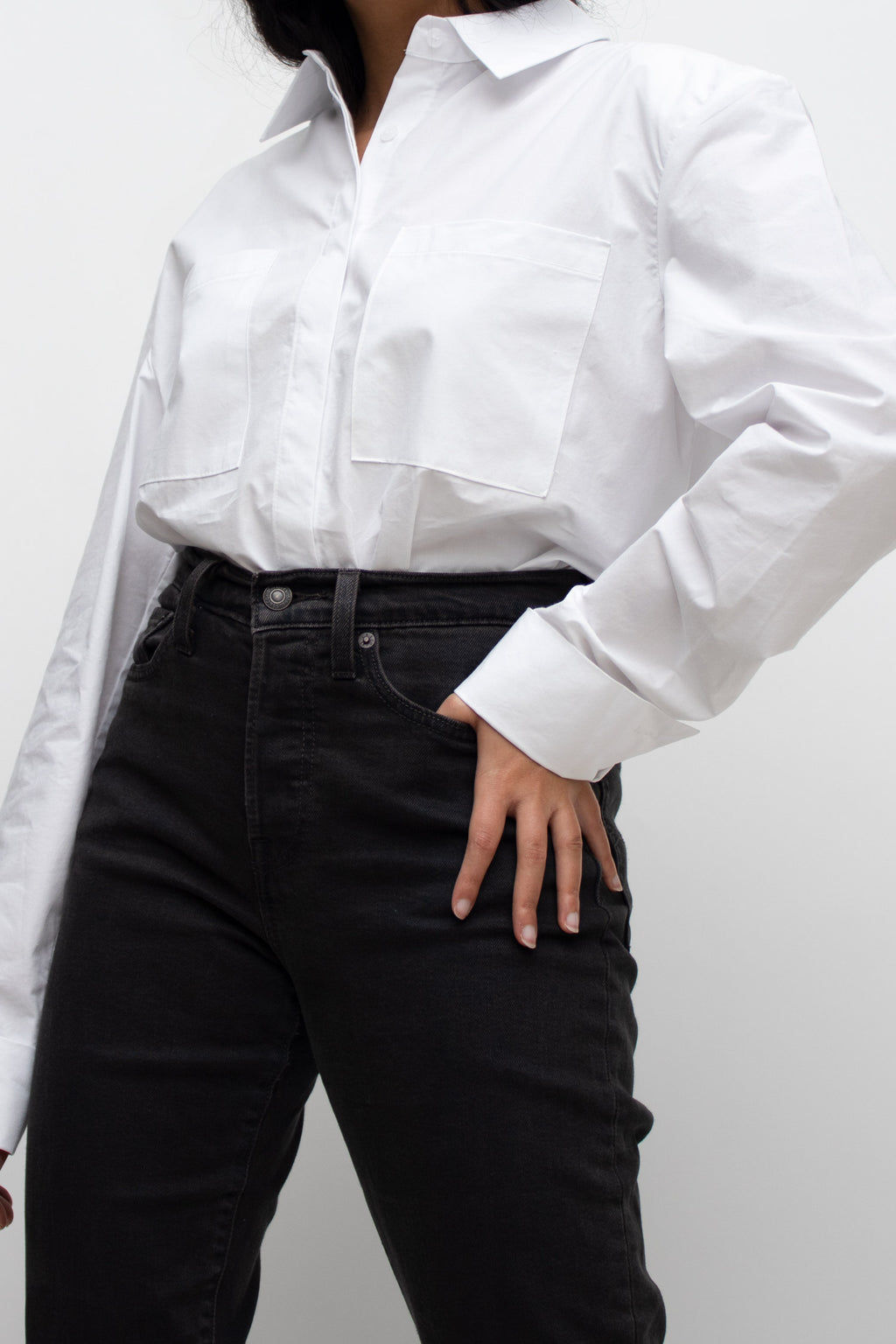 White Padded Shoulder Shirt