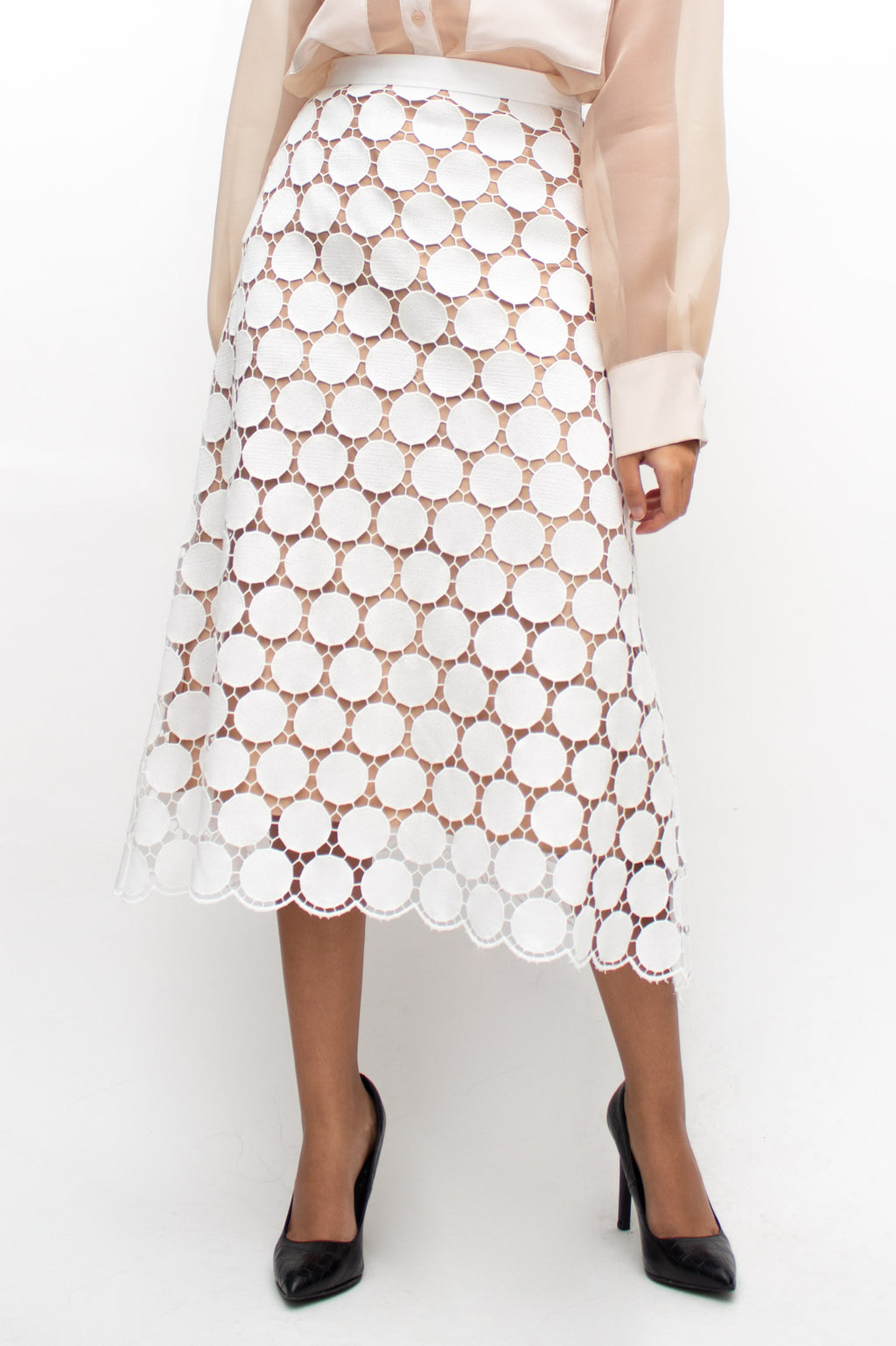 White Lace Cut Out Midi Skirt