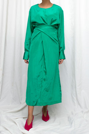 Tied Back Green Midi Dress
