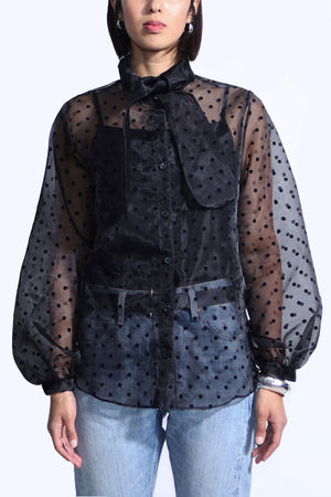 Pussy-bow Organza Polka Dotted blouse