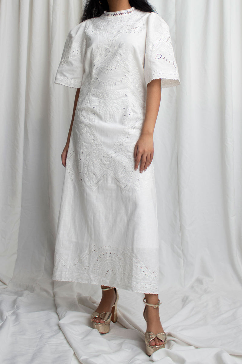 White Linen Lace Maxi Dress