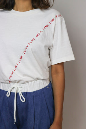 Don't Panic Text White T-shirt