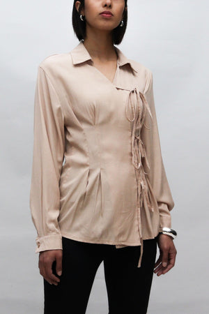Beige Ribbons Tied Detail Blouse
