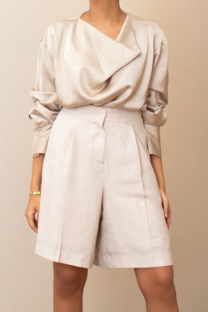 Draped Beige Silk Blouse