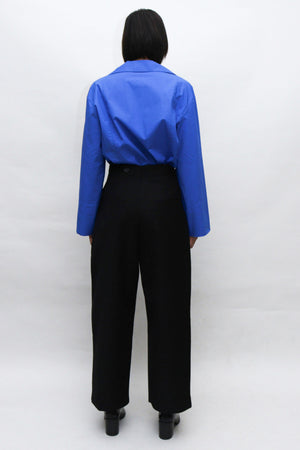 Black Wide Pants with Detachable Pouch
