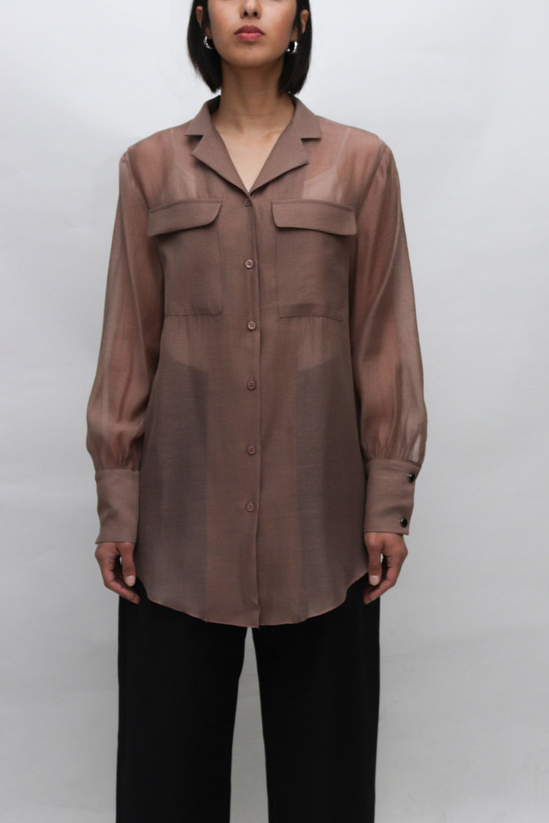 Brown Sheer Utility Blouse
