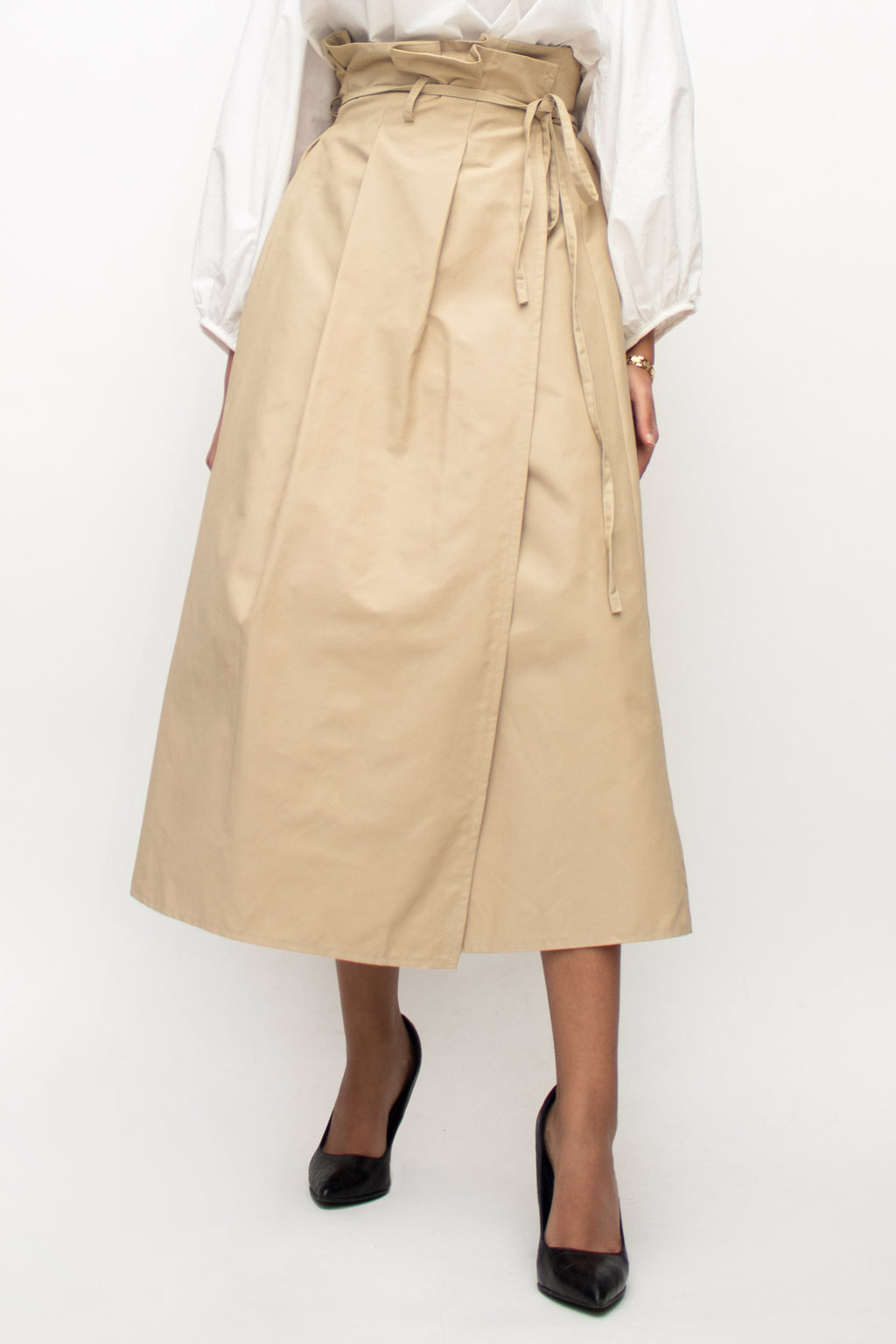 Beige Wrap Tied Midi Skirt