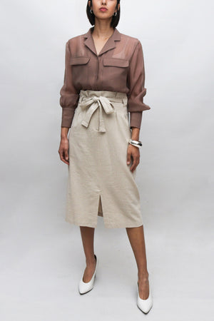 Beige Tied Linen Skirt