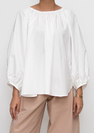 Ivory Cotton Poplin Blouse