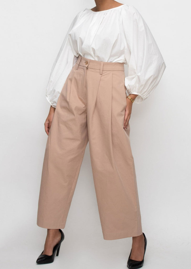 Dusty Rose High Waisted Trousers