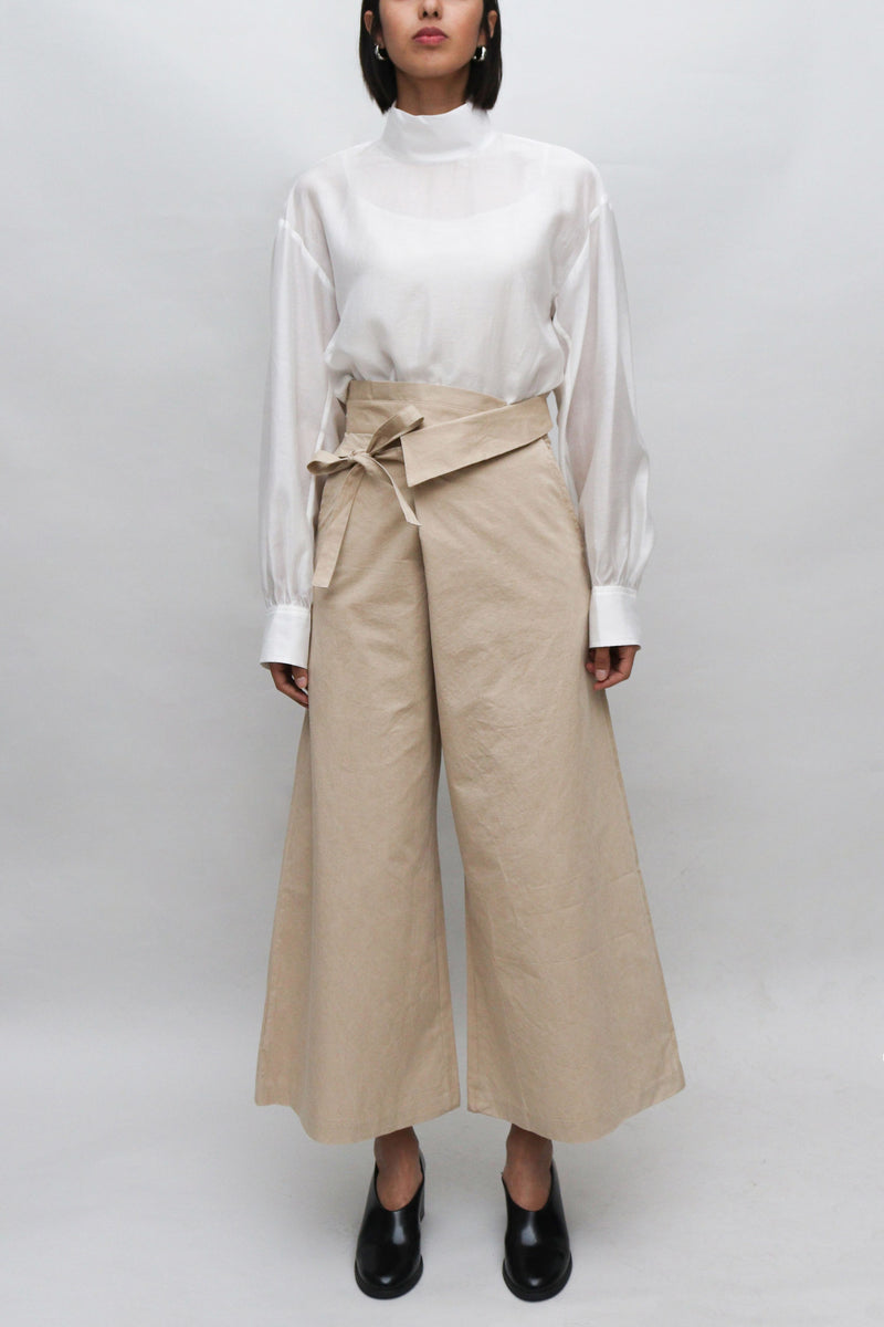 Beige Ribbon Wrapped Pants